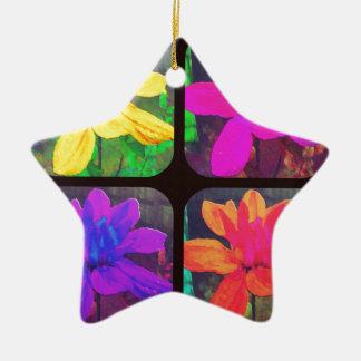 明るいコラージュの花のダリアの花模様 陶器製星型オーナメント