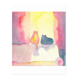 明るいソファーのカラフルな猫 ポストカード