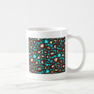 明るいターコイズの赤のチータ コーヒーマグカップ