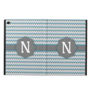 明るいティール(緑がかった色)の青および灰色のシェブロンパターンモノグラム POWIS iPad AIR 2 ケース