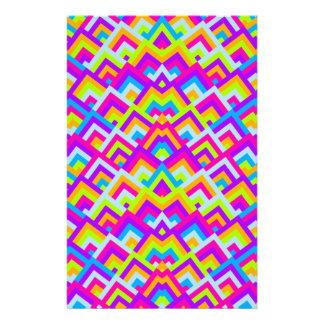 明るいネオンは対称的なかいま見パターンジグザグに進みます 便箋