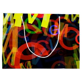 明るいネオンアルファベットの手紙 ラージペーパーバッグ