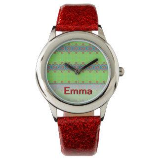 明るいネオン緑のピンクの種族のバタフライ効果 腕時計