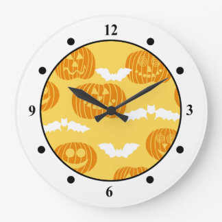 明るいハロウィンのカボチャ及びこうもりのデザイン ラージ壁時計