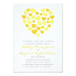 明るいハートの結婚式招待状 カード