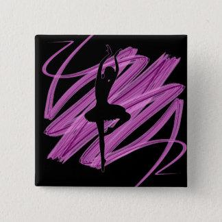 明るいバレリーナのダンサー 5.1CM 正方形バッジ