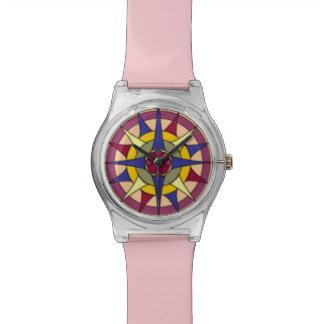 明るいパステル調のコンパス面図のピンクの調節可能な腕時計 腕時計