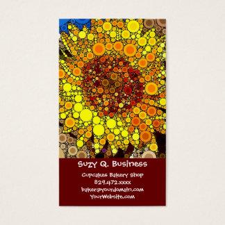 明るいヒマワリの円のモザイクデジタル芸術のプリント 名刺