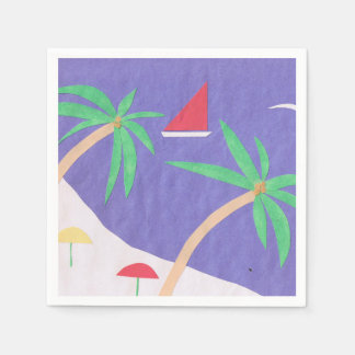 明るいビーチのデザインのカクテルのナプキン スタンダードカクテルナプキン