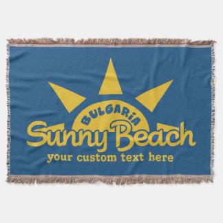 明るいビーチのブルガリアのカスタムな文字及び色毛布 スローブランケット