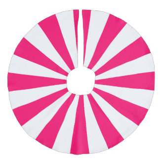明るいピンクおよび白いスターバストのストライプ フェイクリネンツリースカート