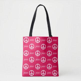 明るいピンクおよび白いピースマークおよび文字 トートバッグ
