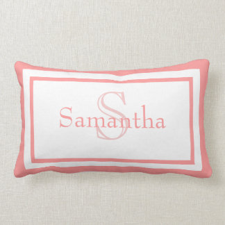 明るいピンクおよび白いモノグラムの名前の記念品の枕 ランバークッション