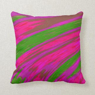 明るいピンクおよび緑色の抽象デザイン クッション