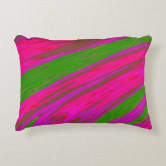明るいピンクおよび緑色の棒の抽象芸術 アクセントクッション
