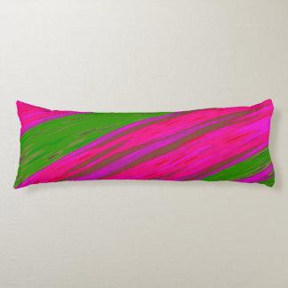 明るいピンクおよび緑色の棒の抽象芸術 ボディピロー