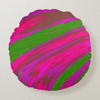 明るいピンクおよび緑色の棒の抽象芸術 ラウンドクッション