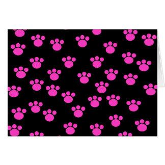 明るいピンクおよび黒い足のプリントパターン カード