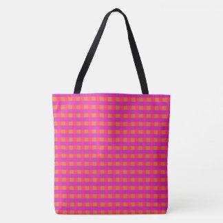明るいピンクのオレンジおよび紫色の点検パターン トートバッグ