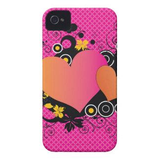 明るいピンクのオレンジカラフルなポップアートのハート Case-Mate iPhone 4 ケース