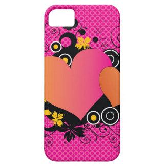 明るいピンクのオレンジカラフルなポップアートのハート iPhone SE/5/5s ケース