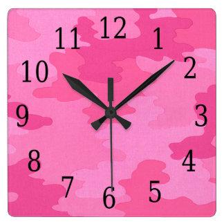 明るいピンクのカムフラージュの正方形の時計 壁時計