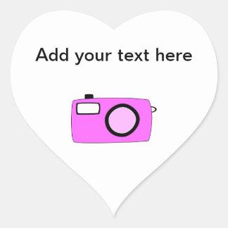 明るいピンクのカメラ。 白 ハートシール