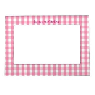 明るいピンクのギンガムの点検パターン マグネットフレーム
