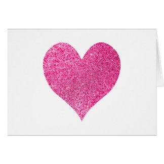 明るいピンクのグリッターのハートは感謝していしています ノートカード
