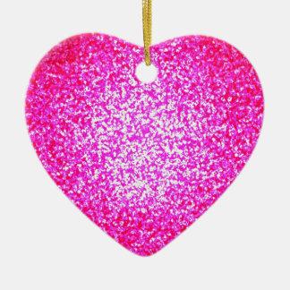 明るいピンクのグリッターのファッションのハートのオーナメント セラミックオーナメント