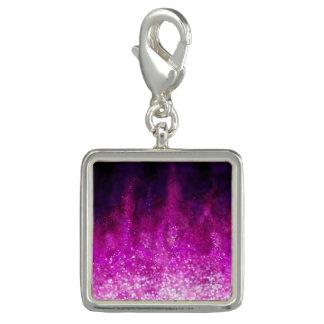 明るいピンクのグリッターの黒のカッコいいの銀河系パターン チャーム