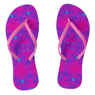 明るいピンクのターコイズのデザイン ビーチサンダル