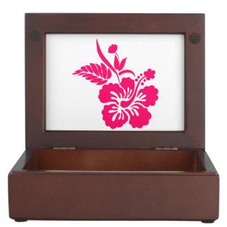 明るいピンクのハワイの花 ジュエリーボックス