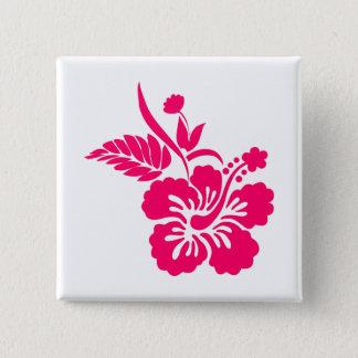 明るいピンクのハワイの花 5.1CM 正方形バッジ