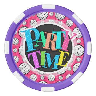 明るいピンクのバレーボールパターン ポーカーチップ