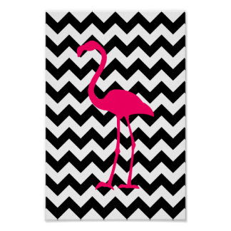 明るいピンクのフラミンゴの白黒ジグザグ形 ポスター