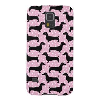 明るいピンクのポルカのダックスフント GALAXY S5 ケース