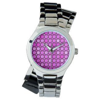 明るいピンクの円 腕時計