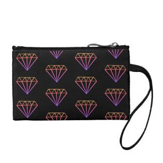明るいピンクの勾配のダイヤモンドパターン コインパース