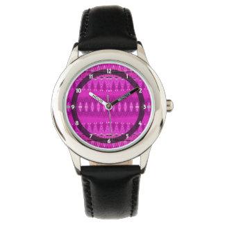 明るいピンクの抽象芸術パターン 腕時計