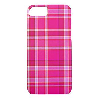明るいピンクの格子縞のタータンチェック iPhone 8/7ケース