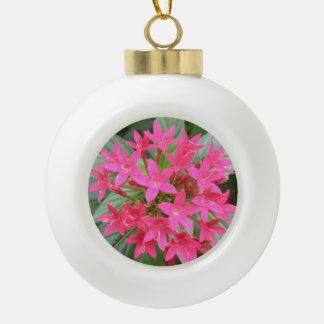 明るいピンクの熱帯花の球のオーナメント セラミックボールオーナメント