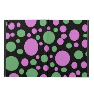 明るいピンクの緑の水玉模様 POWIS iPad AIR 2 ケース