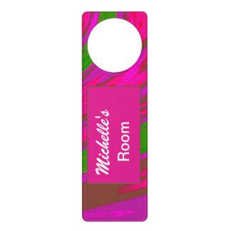 明るいピンクの緑色の棒の抽象芸術 ドアノブプレート