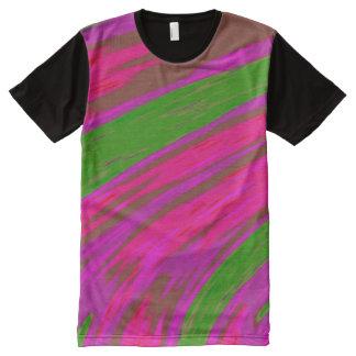 明るいピンクの緑色の棒 オールオーバープリントT シャツ