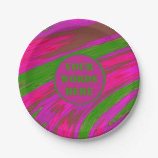 明るいピンクの緑色の棒 ペーパープレート