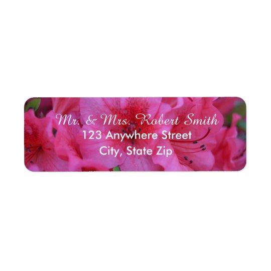 明るいピンクの花の差出人住所ラベル ラベル