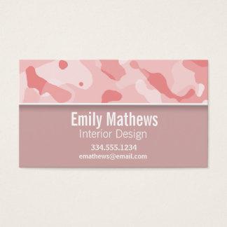 明るいピンクの迷彩柄; 名前入り 名刺