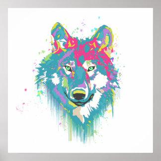 明るいピンクの青いネオン水彩画の(ばちゃばちゃ)跳ねるのオオカミ ポスター