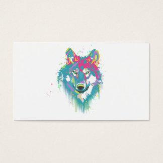 明るいピンクの青いネオン水彩画の(ばちゃばちゃ)跳ねるのオオカミ 名刺